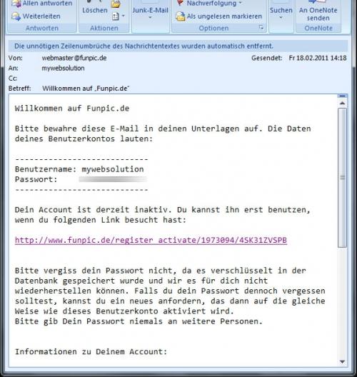 Funpic eMail bestätigen